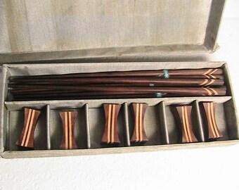 Chop Sticks, Vintage Wooden Chop Sticks and Holders, Set of 6