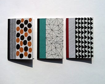3 small notebooks in paper recycled 10 x 15 cm
