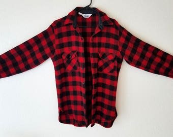 Woolrich Plaid Lumberjack Red Sweater Medium Heavy Coat Button Up