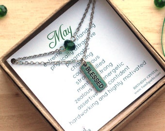 May Birthstone Double Layer Silver Necklace with Emerald Green Crystal and Blessed Mantra Charm, May Birthday Gift, Taurus Gift, Gemini Gift