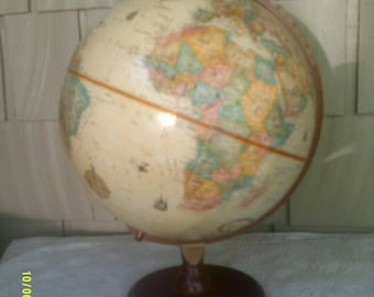 "Vintage Replogle 12"" World Globe on Wooden Base, Vintage Desk Globe , Tan Raised Globe, Replogle World Classic, Vintage World Globe"