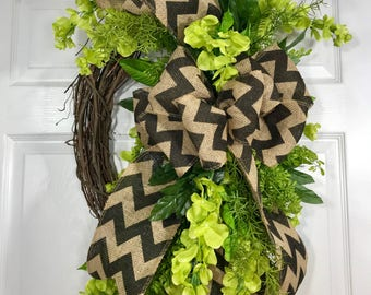 Lime Green, Burlap and Black Spring or Summer Oval Grapevine Wreath