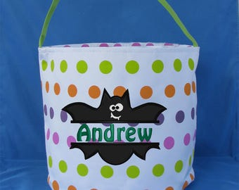 Polka Dot Embroidered Halloween Bucket - Personalized Trick or Treat Bag - Monogrammed Halloween Candy Bucket - Trick or Treat Tote - Ghost
