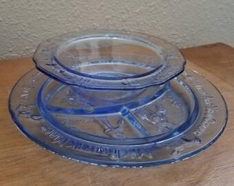 Vintage Mother Goose Blue Bowl and Plate Childs Set