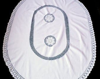 25% SUMMER SALE Amazing Vintage big oval white cotton tablecloth with hand crocheted inserts and laces decorative table cloth
