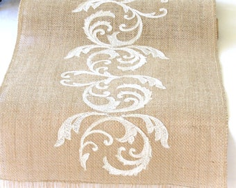 Natural Burlap Table Runner Wedding Table Runner with Ivory Embroidery Rustic Wedding Party Linens , handmade in the USA by HotCocoaDesign