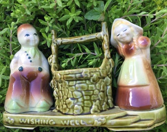 Vintage Shawnee  Planter Wishing Well Dutch Boy and Girl ~ MINT!