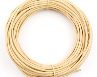 Beige Round Leather Cord 1mm, 100 meters (109 yards)