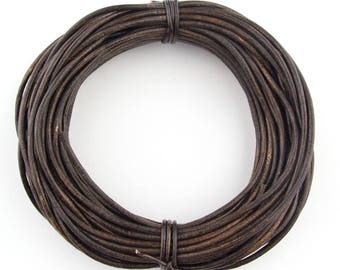 Brown Antique Round Leather Cord 2mm 50 meters (54 yards)