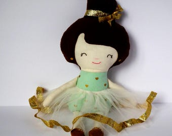 Cloth Doll. Handmade rag doll. Mint and gold. Great gift idea.