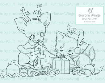 Digital Stamp - Santa's Little Helpers - Instant Download - digistamp - Holiday Animal Line Art for Cards & Crafts by Mitzi Sato-Wiuff