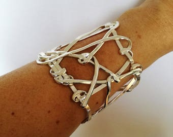 Large Cuff, Woven Bracelet, Abstract Design, Statement Jewellery, Classic, Modern,  Wire Work, Unique Piece, Adjustable, 6cm Wide