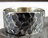 Mens Wedding Ring Wide Sterling Silver Black Hammered Textured Band 10mm Wide