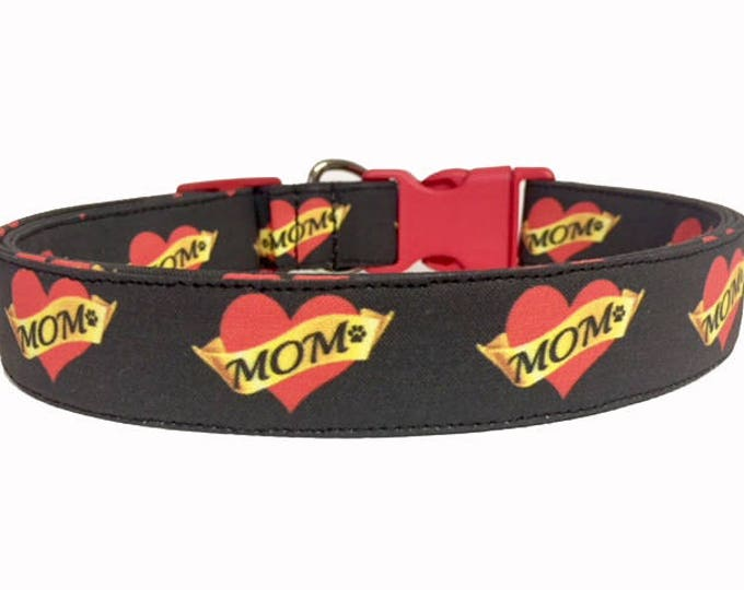 Featured listing image: Mom Love Dog Collar, I love Mom, Mother's Day, Fabric Collar, Tattoo, Heart, Mother, Valentine's Day, Valentine