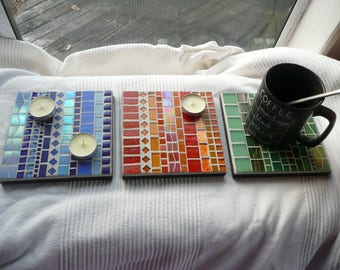 Monochromes MOSAIC Trivets / Coasters / Tea Light Holders  Line Up Pattern in Tangerine, Green and Blue