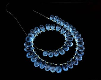 8-inch AAAA quality Sky Blue Topaz faceted teardrop 8-11mm 87cts