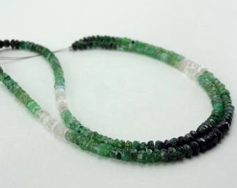 """16"""" Strand Natural Emerald shaded faceted rondelle gemstone loose beads 3-3.5mm"""