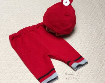 Baby boy Christmas outfit newborn boy pants and hat newborn boy upcycled set   Newborn photography.  Ready to ship.