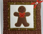 Large Christmas Holiday Pot Holders - Set of Two - Appliqued Gingerbread Boy