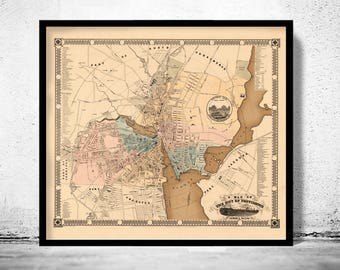 Old Map of Providence 1849 Rhode Island Vintage Map