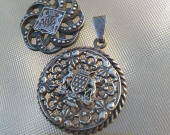 2pcs French antique large Bregagne military pendant crown royal  dog lion Lys coat of arms silver old filigree jewelry  tradition France