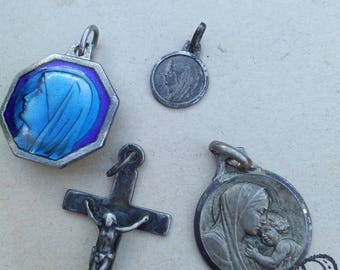 lot 4pcs French antique 19th century sterling silver medals crucifix cross pendant blue enamel reliquary filigree gothic gemstone