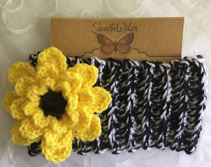 Big Soft Chunky Flower Headband-Womens Earwarmer--Winter Headband-yellow Crocheted Flower