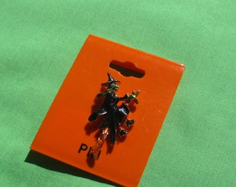Retro Flying Witch On Broom Enameled Lapel Pin On Original Card
