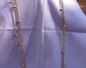 Vintage Multi Strand  Graduated Length Beaded Chain Long Necklace