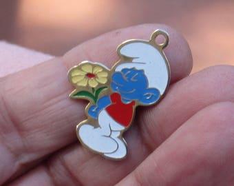 Vintage Peyo Smurf Charm Flower 1980