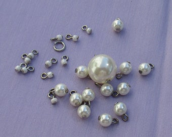 Lot Of Salvaged White Faux Pearl Dangles  & White Beaded Dangles