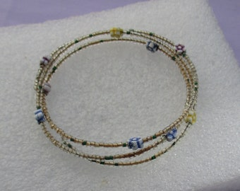 Retro Colorful Flower Wire Wrap Beaded Bracelet