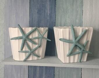 coastal vase, starfish vase, teal decor, coastal decor, beach deocr, summer decor, shell art, summer decor, coastal gift