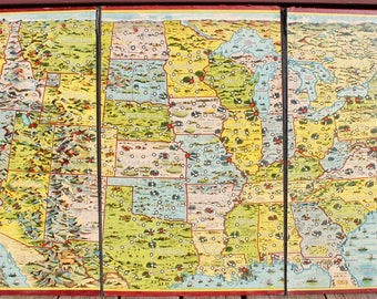 1901 The United States Game Board Antique Map