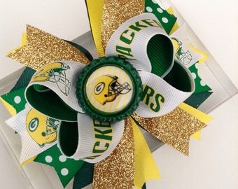 Green Bay Packers NFL Football Hair Bow- Green, Yellow & Gold - Perfect for Infants , Toddlers , Big Girls and Teens, Baby Headband , Sports