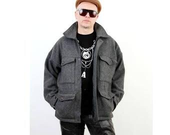 Vintage / Military Coat / XL Military Jacket / Gray Military Jacket / Wool Military Jacket / Men Military Jacket  / XL