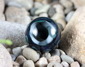 Lampwork Vortex Marble (Borosilicate / Boro Glass) 1.25 inch / 31 mm - Gray, Cobalt, Green - Meditation, Gazing, Collecting
