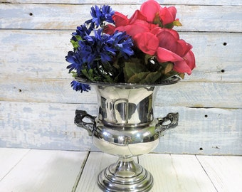 Champagne Bucket Sherids Silver Plate Vintage Ice Bucket Wine Cooler Italian Barware Wedding Gift French Country Flower Vase Centerpiece