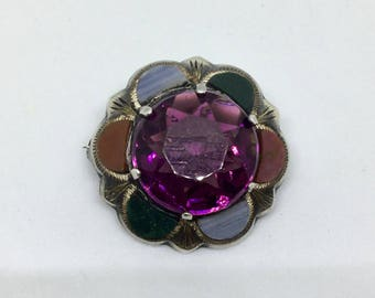 Antique Scottish Brooch Sterling Silver Edwardian Agate Faceted Amethyst Scotland