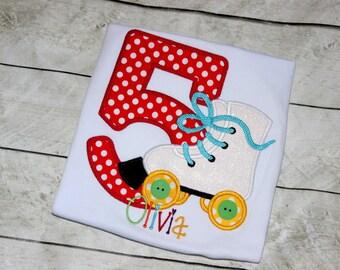 Girls Roller Skating birthday shirt Roller Skates shirt for girl Toddler rollerskates shirt Birthday rainbow Size 2t 3t 4t 5 6 8 10 12 month