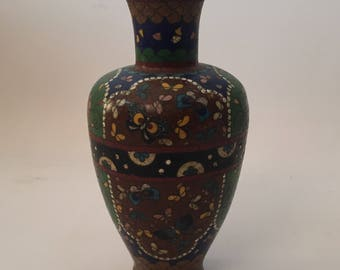 Early Chinese Butterfly and Floral Cloisonne Vase