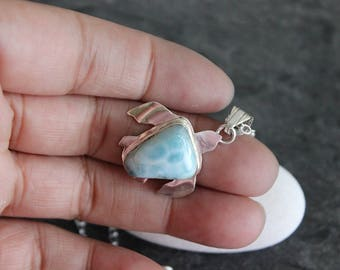 Larimar Small Turtle Pendant, Sterling Silver Necklace