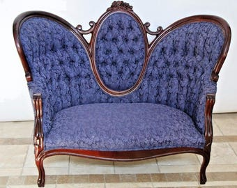 Rare Antique Victorian Sofa Blue Upholstery Loveseat Settee Chaise Couch Petite Safe Insured nationwide shipping available