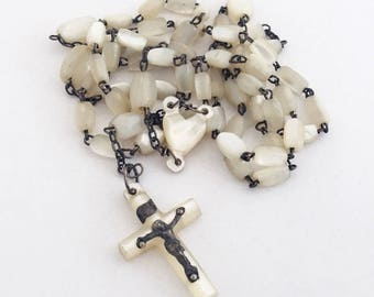 1920s Vintage French Mother-of-Pearl Rosary Catholic Beads Prayer Beads with Crucifix