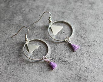 """Playful"" Purple earrings, circle, triangle pendant, tassel"