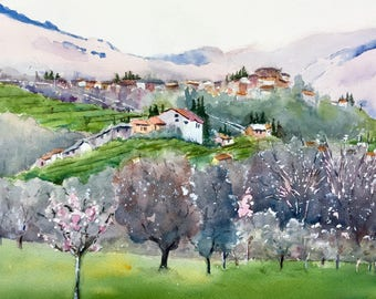 Forever Provence original watercolor painting France landscape