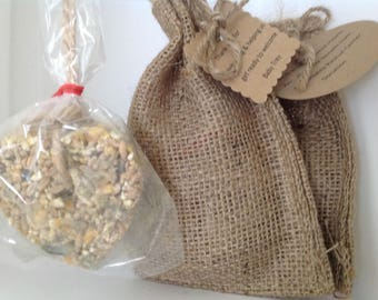 Birdseed Heart or Butterfly Tied with Twine in a Burlap Bag. Personalized card included.