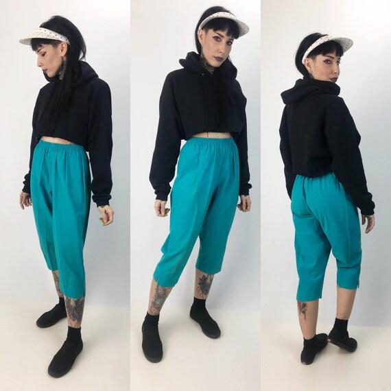 90's Turquoise Blue High Waist Cotton Trouser Pants Small - Elastic Waist Sky Blue Casual Capri Pants - Tapered Leg Capri Pants VTG Trousers
