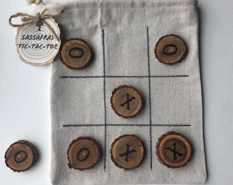 Sassafras Tic Tac Toe Travel and Camping Game, Cabin Decor Rustic Wedding Favor, RV travel game,Easter Basket Stuffer Birthday Gift