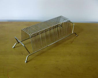 Vintage Record Holder -Wire Album Holder -record stand -Mid Century Modern -holds 40 records -vintage vinyl -wire record rack -brass rack